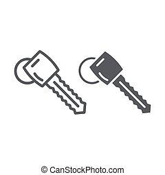 lineare, segno, automobile, fondo., aprire, vettore, modello, chiave, auto, grafica, icona, linea, glyph, bianco, sicurezza