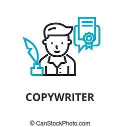 lineare, segno, copywriter, simbolo, concetto, vettore, magro, illustation, icona, linea