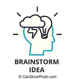 lineare, segno, idea, simbolo, concetto, vettore, brainstorming, magro, illustation, icona, linea