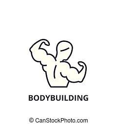 lineare, segno, simbolo, bodybuilding, vettore, magro, illustation, icona, linea, concetto