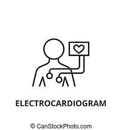 lineare, segno, simbolo, concetto, vettore, magro, illustation, icona, linea, elettrocardiogramma