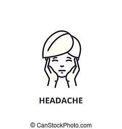 lineare, segno, simbolo, concetto, vettore, magro, illustation, icona, linea, mal di testa