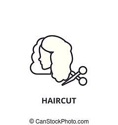 lineare, segno, taglio capelli, simbolo, concetto, vettore, magro, illustation, icona, linea