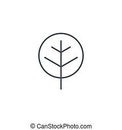 lineare, simbolo, albero, vettore, linea sottile, icon.