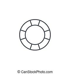 lineare, simbolo, lifebuoy, vettore, linea sottile, icon.