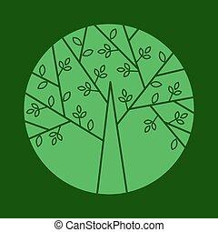 linearny, drzewo, wektor, modny, logo, style.