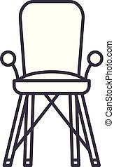 linearny, ikona, ilustracja, concept., symbol, wektor, krzesło niemowlęcia, znak, kreska, pokój