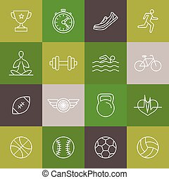 linearny, ikony, stosowność, wektor, znaki, sport