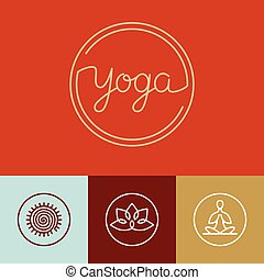 linearny, logo, wektor, yoga