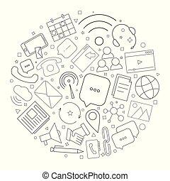 linearny, pattern., koło, na, kontakt, wektor, tło, icon., ...