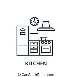 linearny, pojęcie, symbol, znak, wektor, ikona, kreska, kuchnia, szkic