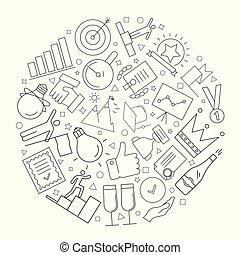 linearny, powodzenie, pattern., wektor, tło, kreska, icon.