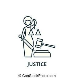 linearny, sprawiedliwość, symbol, szkic, znak, wektor, ikona, kreska, pojęcie