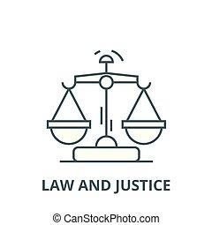 linearny, sprawiedliwość, symbol, szkic, znak, wektor, ikona, kreska, prawo, pojęcie