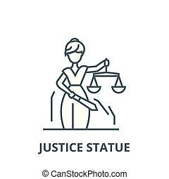 linearny, sprawiedliwość, symbol, szkic, znak, wektor, statua, ikona, kreska, pojęcie