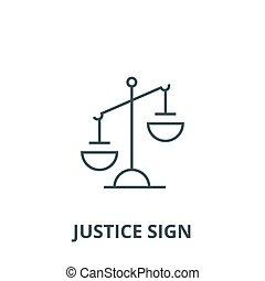 linearny, sprawiedliwość, symbol, szkic, znak, znak, wektor, ikona, kreska, pojęcie