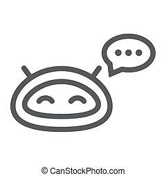 linearny, wektor, technologia, chatbot, eps, tło, biała lina...