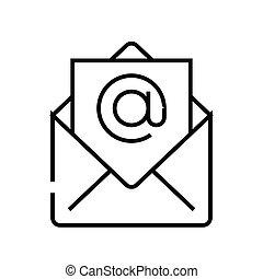 linearny, znak, email, szkic, kreska, ikona, ilustracja, symbol., wektor, pojęcie