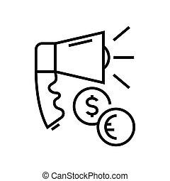 linearny, znak, szkic, kreska, ikona, zarobek, ilustracja, symbol., wektor, pojęcie