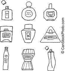 lineart, セット, びん, 漫画, parfum