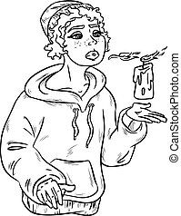 Lineart contour of beautiful young witch with candle. Vector illustration