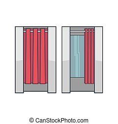 Lineart dressing room - Set of lineart vector fitting cabins...