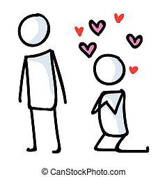 lineart, relación, hearts., aglomeración, amor, vector, ...