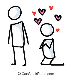 lineart, relation, hearts., cohue, amour, vecteur, graphic...