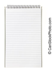 Lined blank notebook with spiral isolated on white