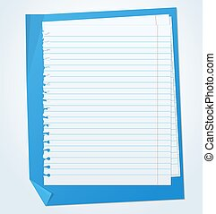 Lined exercise sheets and sheet of blue paper with crumpled ...