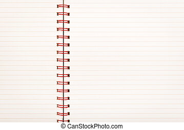 Notebook with pale lined paper and red metal binding as background