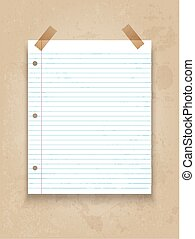 Lined paper on grunge background