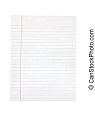 White lined paper, includes clipping path