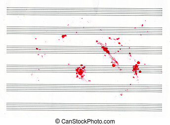 lined sheet music books with red blots