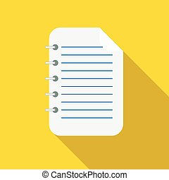 Lined sheet of paper icon, flat style