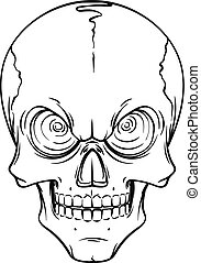 Lined tattoo illustration of skull.