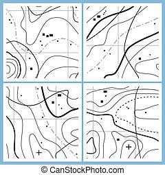 linee, astratto, vettore, mappa, configurazione ondosa