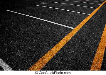 linee bianche, giallo, asfalto
