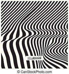 linee, ondeggiare, fondo., disegno, monocromatico, illusione