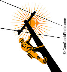 Lineman at work - Illustration on linemen
