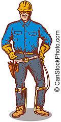 Lineman Standing - Illustration of a power lineman telephone...