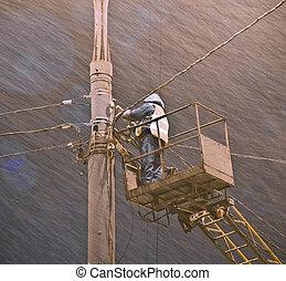 lineman., vs, schneesturm