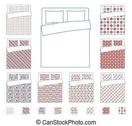 Linen and bedding, duvet vector textile patterns template