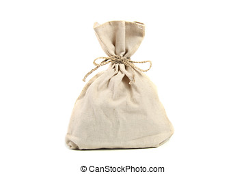 linen bag isolated on white