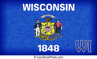 Linen flag of the US state of Wisconsin