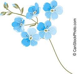 Linen flower isolated over white background. Vector illustration.