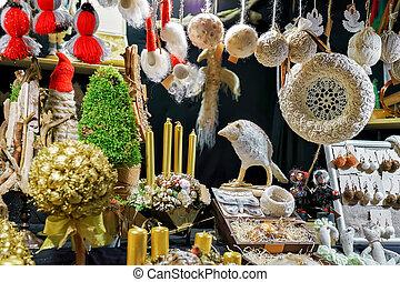 Linen handmade souvenirs and accessories at Riga Christmas market