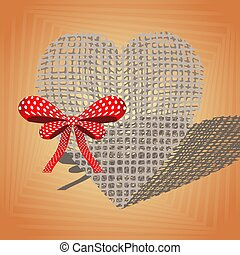 Linen heart with a red bow