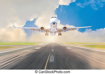 Liner airplane takes off from the runway, the concept of travel to countries, the world.