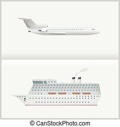 liner., avião, cruzeiro
